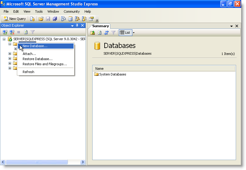 SQL Server Management Studio: Object Explorer - New Database