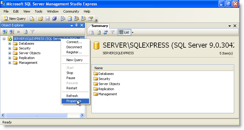 SQL Server Management Studio Express - Object Explorer